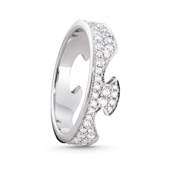 Mestergull Fushion End Ring i 18 K Hvitt Gull og diamanter GEORG JENSEN Fusion Ring