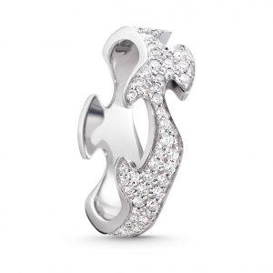 Mestergull Fushion Centre Ring i 18 K Hvitt Gull og diamanter GEORG JENSEN Fusion Ring