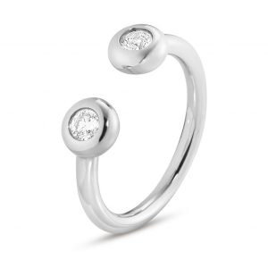 Mestergull Aurora Ring i 18 K hvitt gull med diamanter GEORG JENSEN Aurora Ring