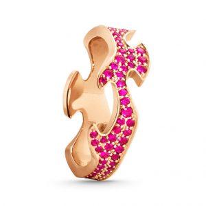 Mestergull Fushion Centre Ring i 18 K Rosé gull med rubiner pavé GEORG JENSEN Fusion Ring