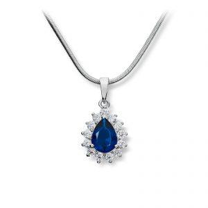 Mestergull Klassisk anheng i rhodinert sølv med blå og hvite cubic zirkonia med kjede GID Anheng