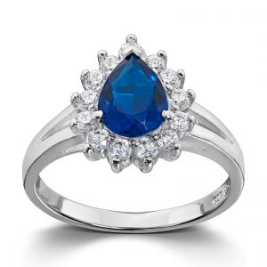 Mestergull Klassisk ring i rhodinert sølv med blå og hvite cubic zirkonia GID Ring