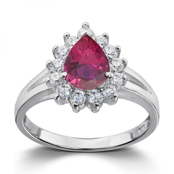Mestergull Klassisk ring i rhodinert sølv med syntetisk rubin og hvite cubic zirkonia GID Ring