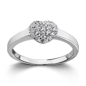 Mestergull Vakker hjertering i rhodinert sølv med hvite cubic zirkonia GID Ring