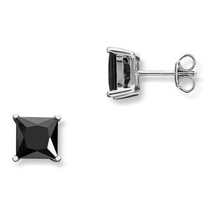 Mestergull Flott ørepynt i rhodinert sølv med sort cubic zirkonia GID Ørepynt