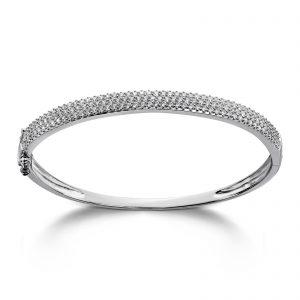Mestergull Stilren armring i rhodinert sølv med hvite cubic zirkonia GID Armring