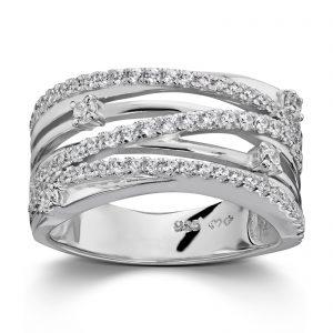 Mestergull Lekker ring i rhodinert sølv med hvite cubic zirkonia GID Ring