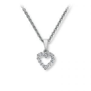Mestergull Elegant hjerteanheng i rhodinert sølv med cubic zirkonia GID Anheng