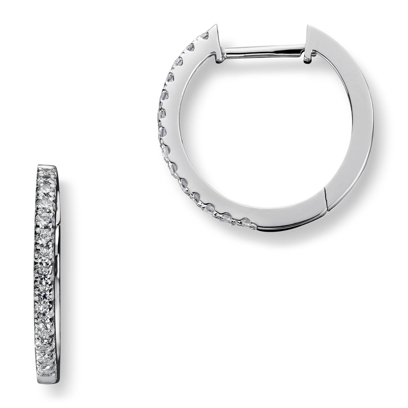Mestergull Stilren ørering i rhodinert sølv med hvite cubic zirkonia GID Ørepynt