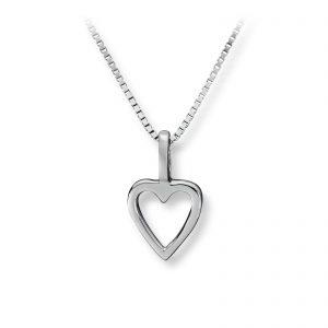 Mestergull Enkelt hjerteanheng i rhodinert sølv GID Anheng