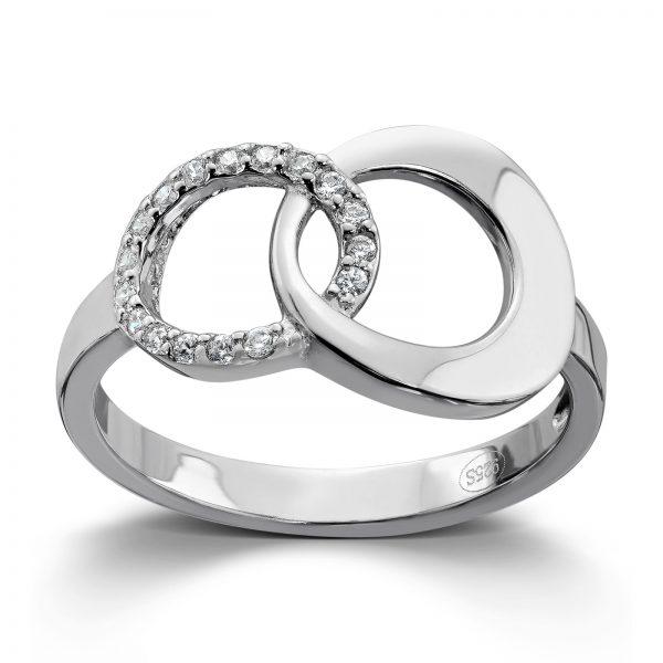 Mestergull Tøff ring i rhodinert sølv med hvite cubic zirkonia GID Ring