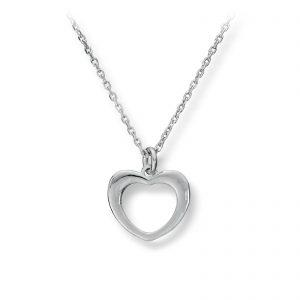 Mestergull Tidløst hjerteanheng i rhodinert sølv GID Anheng