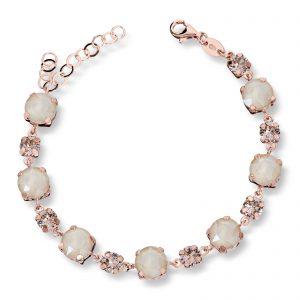 Mestergull Lekkert armbånd i rosèforgylt sølv med mix av creme swarovski krystaller GID Armbånd