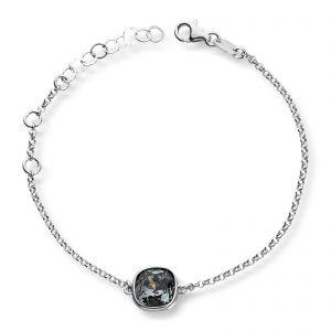 Mestergull Lekkert armbånd i rhodinert sølv med grå krystall GID Armbånd