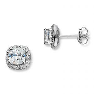 Mestergull Tidløs ørepynt i rhodinert sølv med hvite cubic zirkonia GID Ørepynt