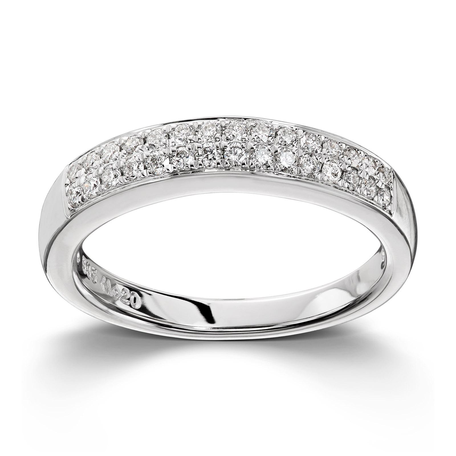 f1c9624e Mestergull Stilren ring i hvitt gull med 30 diamanter totalt 0,24ct. HSI MG