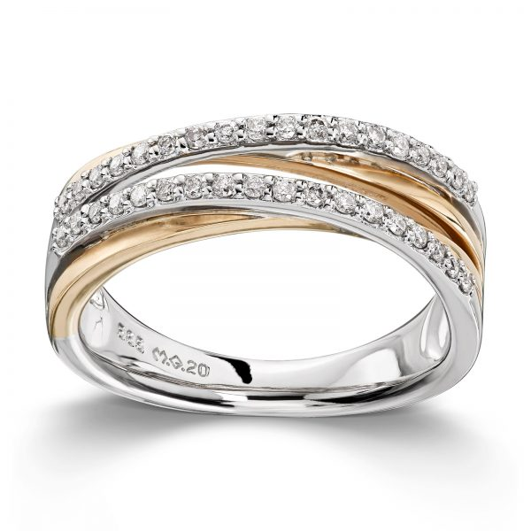 Mestergull Flott ring i tofarget gull med 36 diamanter 0,26 ct. HSI MG DIAMONDS Ring