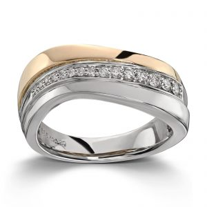 Mestergull Flott ring i tofarget gull med 15 diamanter 0,20 ct. HSI MG DIAMONDS Ring