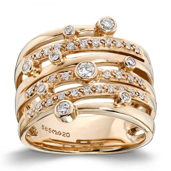 Mestergull Tøff statement ring i gult gull med diamanter MG DIAMONDS Ring