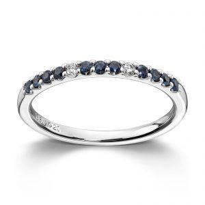 Mestergull Enkel hvittgullsring med diamanter og safirer MG DIAMONDS Ring