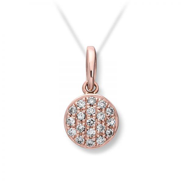 Mestergull Lekkert pavert rundt anheng i rosè gull med diamanter MG DIAMONDS Anheng