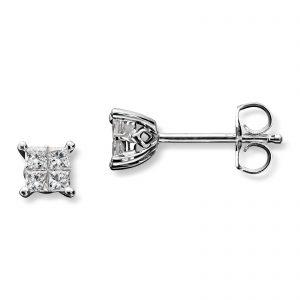 Mestergull Klassisk ørepynt i hvitt gull med diamanter MG DIAMONDS Ørepynt