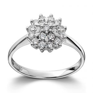 Mestergull Klassisk og elegant rosettring i hvitt gull med diamanter MG DIAMONDS Ring