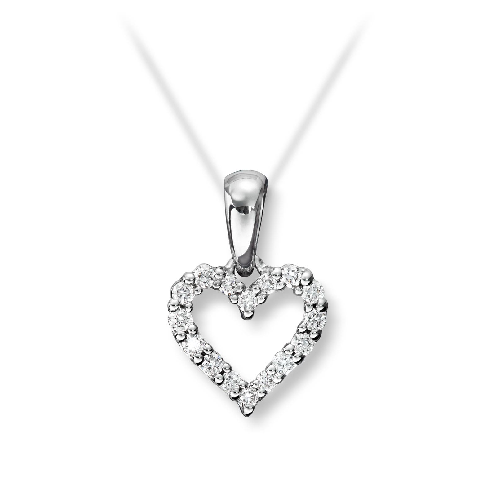 Mestergull Søtt hjerteanheng i hvitt gull med diamanter MG DIAMONDS Anheng