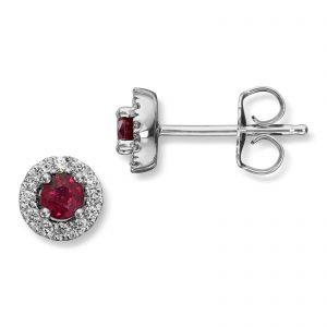 Mestergull Elegant ørepynt i hvitt gull med rubin og diamanter MG DIAMONDS Ørepynt