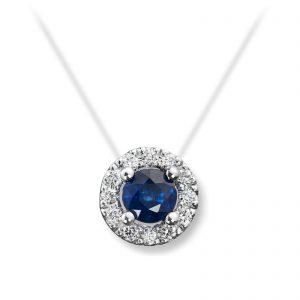 Mestergull Elegant anheng i hvitt gull med safir og diamanter MG DIAMONDS Anheng