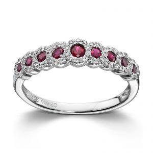 Mestergull Elegant ring i hvitt gull med rubin og diamanter MG DIAMONDS Ring
