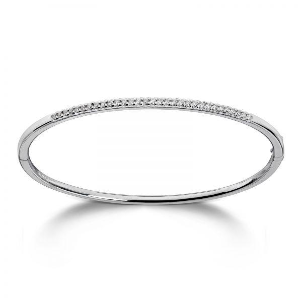 Mestergull Klassisk armring i hvitt gull med diamanter MG DIAMONDS Armring