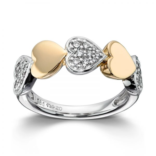 Mestergull Søt hjertering i hvitt og gult gull med diamanter MG DIAMONDS Ring