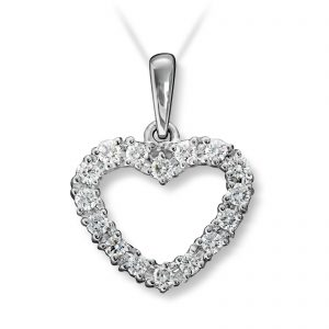 Mestergull Flott hjerteanheng i hvitt gull med diamanter MG DIAMONDS Anheng