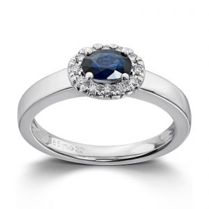 Mestergull Elegant ring i hvitt gull med safir og diamanter MG DIAMONDS Ring