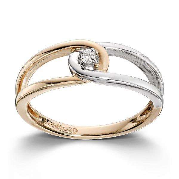 Mestergull Delikat ring i gult og hvitt gull med diamant MG DIAMONDS Ring