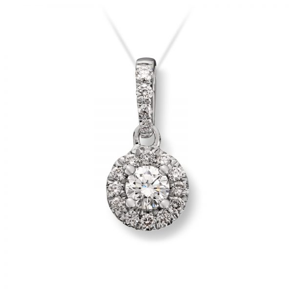 Mestergull Vakkert anheng i hvitt gull med diamanter MG DIAMONDS Anheng