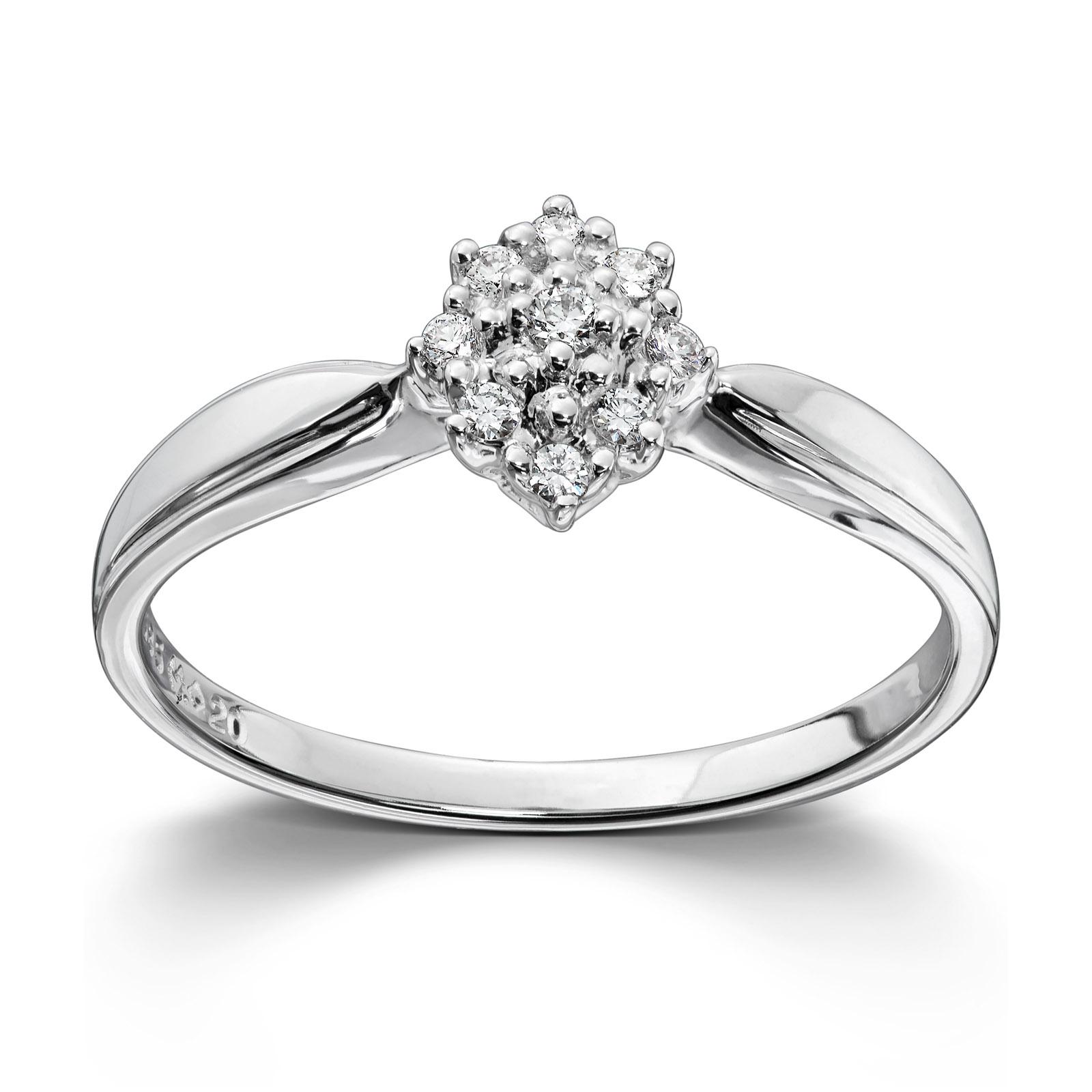 83f6798a Mestergull Klassisk diamantring i hvitt gull med 9 diamanter MG DIAMONDS  Ring