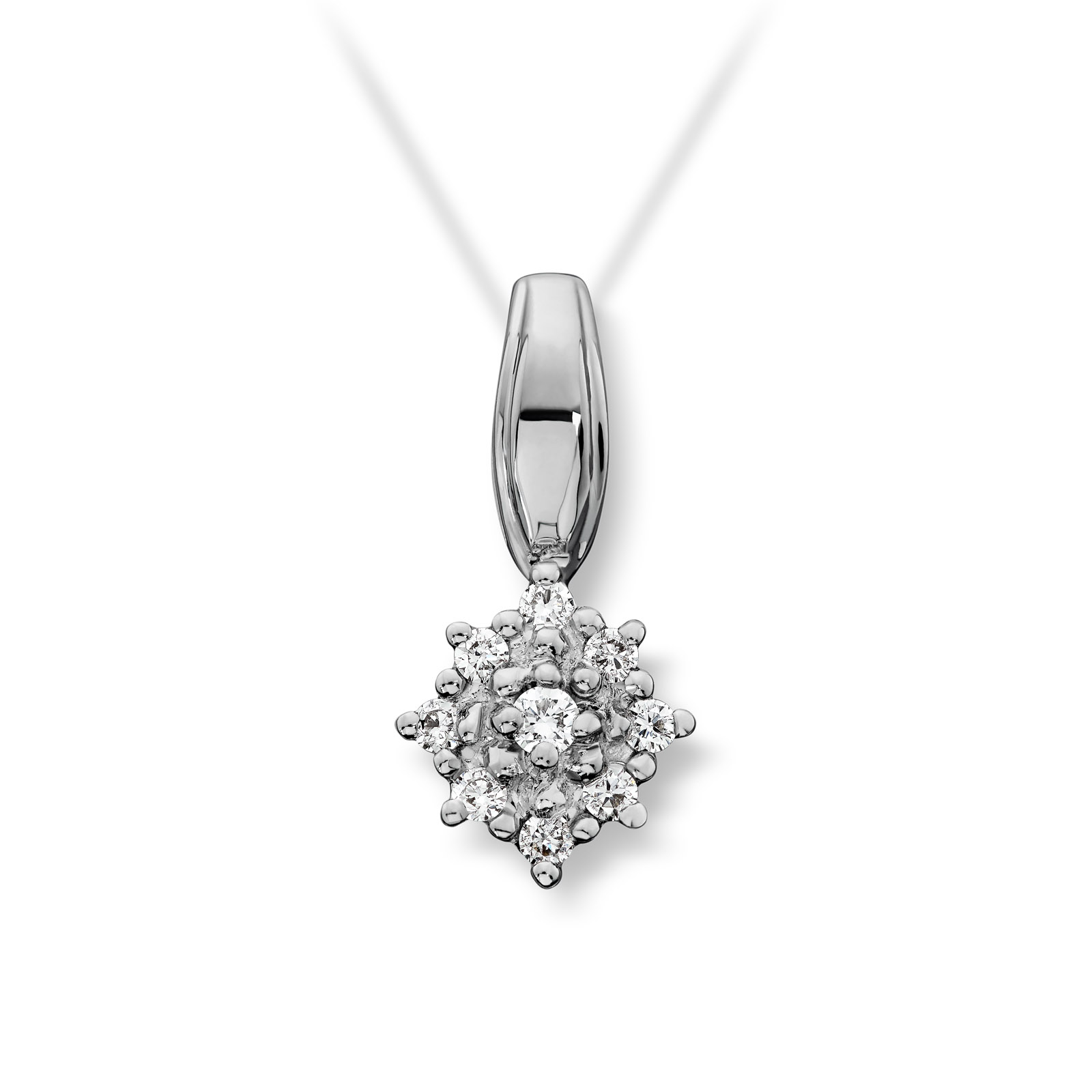 Mestergull Klassisk anheng i hvitt gull med 9 diamanter MG DIAMONDS Anheng