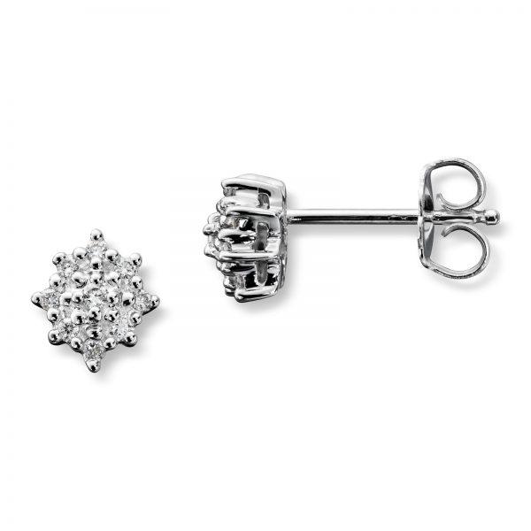 Mestergull Klassisk ørepynt i hvitt gull med 18 diamanter MG DIAMONDS Ørepynt