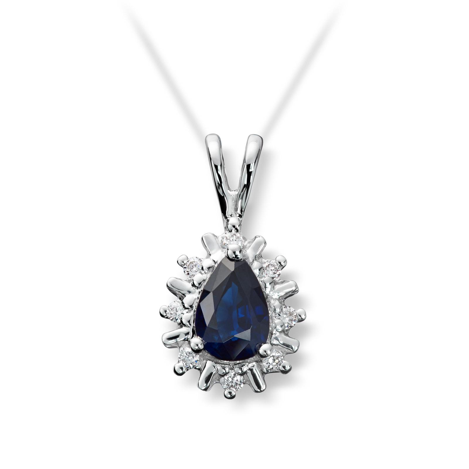 991914a8 Mestergull Klassisk anheng i hvitt gull med safir og diamanter MG DIAMONDS  Anheng