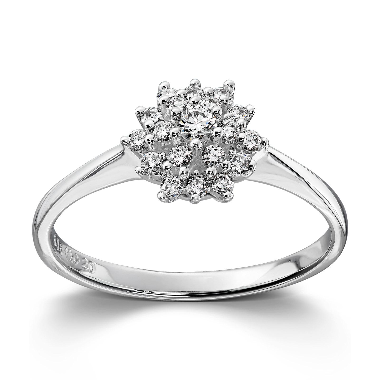 c26d6875 Mestergull Klassisk rosett ring i hvitt gull med diamanter MG DIAMONDS Ring