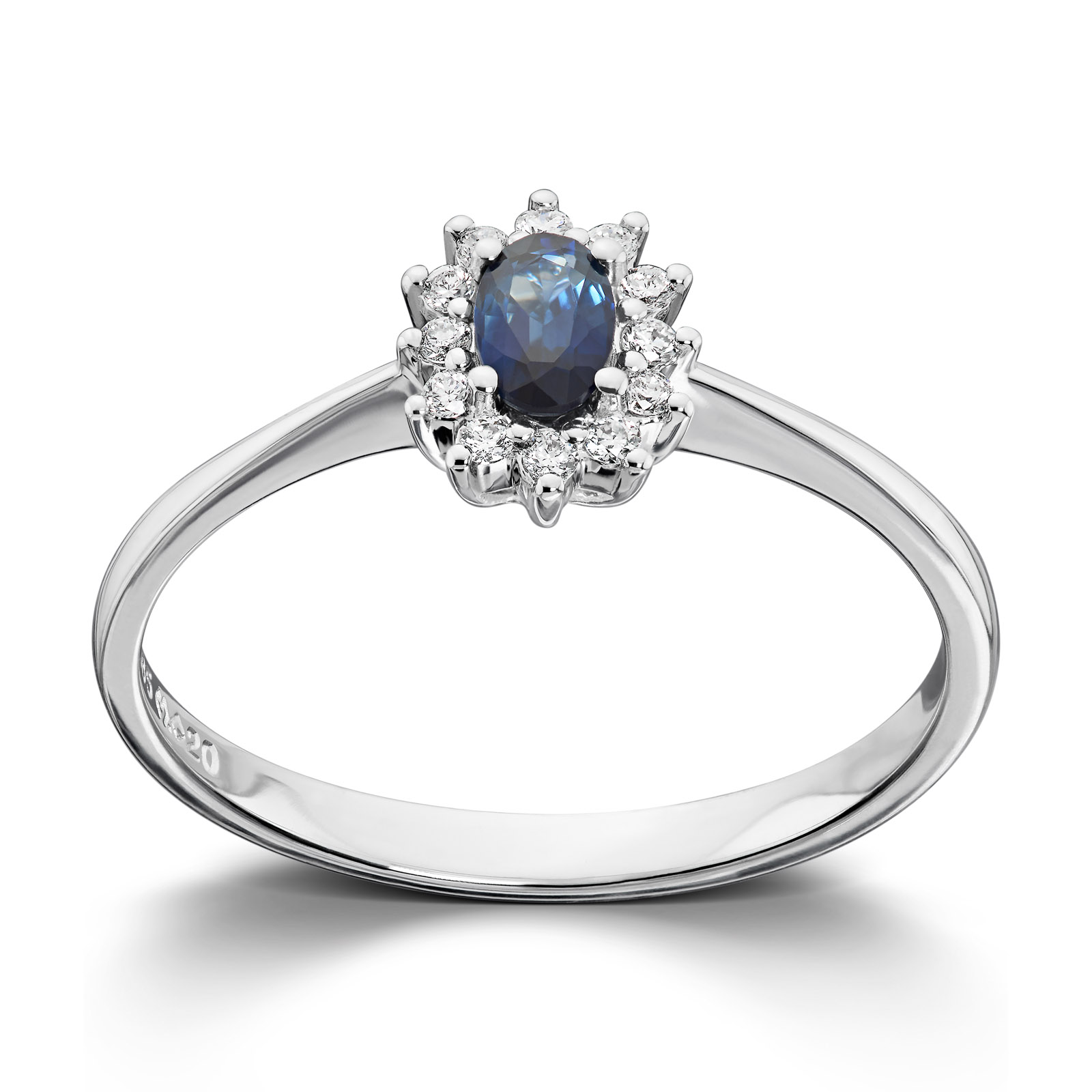 bcb0955a Mestergull Klassisk ring i hvitt gull med safir og diamanter MG DIAMONDS  Ring