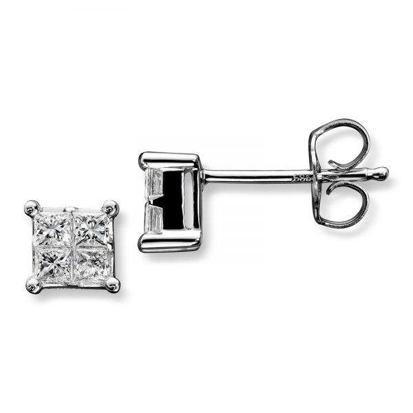 Mestergull Stram og elegant ørepynt i hvitt gull med 4 diamanter i prinsesseslip MG DIAMONDS Ørepynt