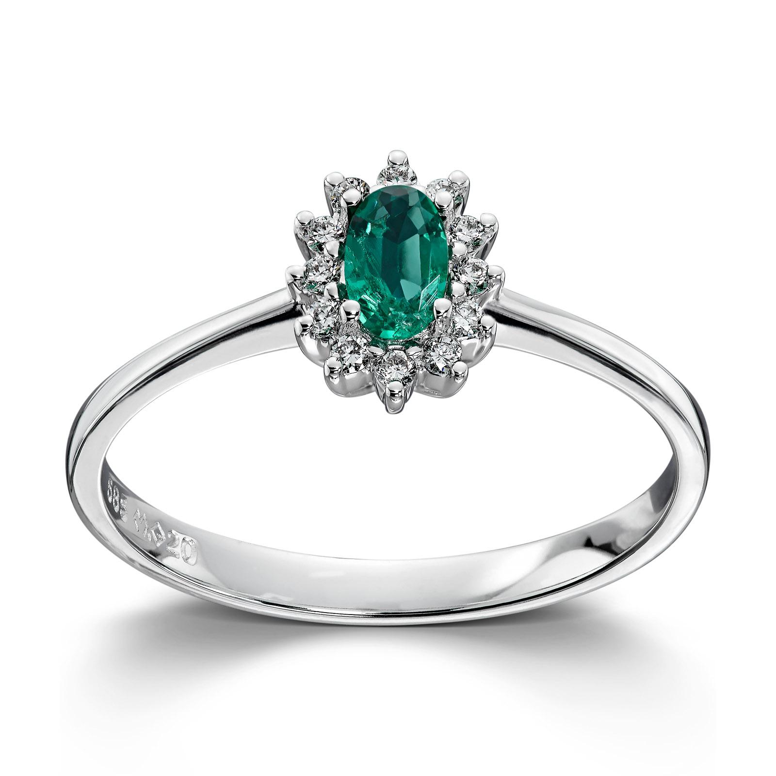 6f661f15 Mestergull Klassisk ring i hvitt gull med smaragd og diamanter MG DIAMONDS  Ring