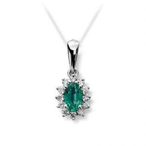Mestergull Klassisk anheng i hvitt gull med smaragd og 12 diamanter MG DIAMONDS Anheng