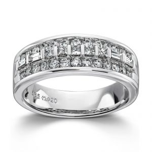 Mestergull Vakker ring i hvitt gull med diamanter, princess cut og baguetter MG DIAMONDS Ring