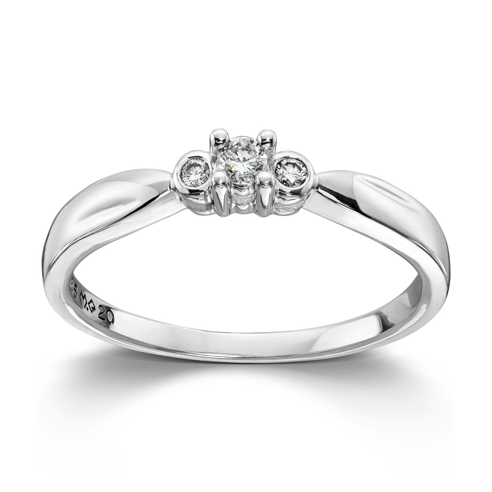 f4ed0eca Mestergull Klassisk ring i hvitt gull med diamanter MG DIAMONDS Ring