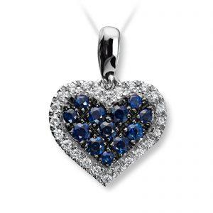 Mestergull Vakkert hjerteanheng i hvitt gull med diamanter og safir MG DIAMONDS Anheng