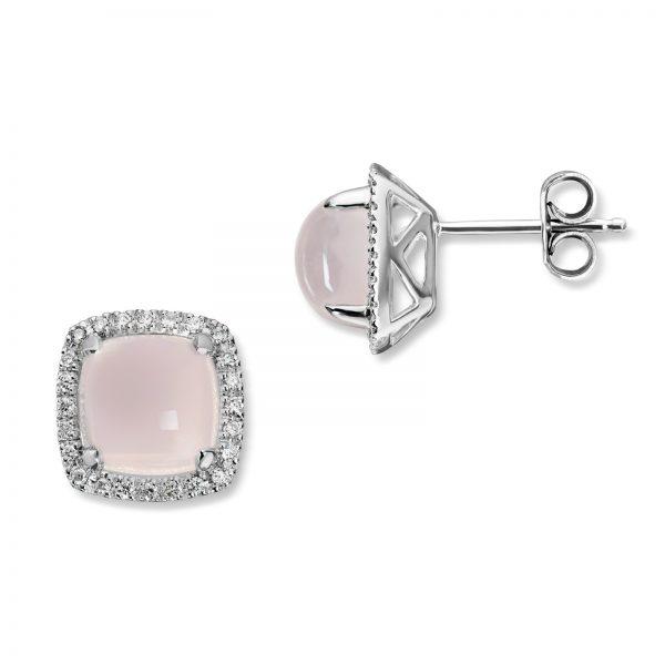 Mestergull Vakker ørepynt i hvitt gull med diamanter og rosenkvarts MG DIAMONDS Ørepynt